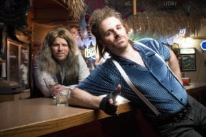 Daniel Akin as Dennis and JJ Bateman as Lonny in The Ziegfeld Theater's production of Rock of Ages.