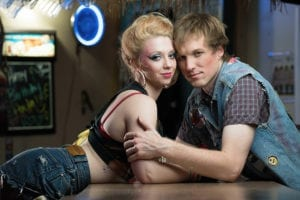 """Natalie Nichols as Sherrie and Jake T. Holt as Drew in The Ziegfeld Theater's production of """"Rock of Ages."""""""