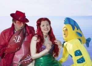 Kyle Baugh as Sebastian, Hannah Bayles as Ariel, and Samuel Murdock as Flounder.