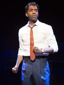 Julius Thomas III as Berry Gordy in the Motown The Musical. Photo by Joan Marcus.