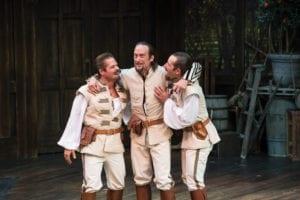 Left to right: Brandon Burk as Borachio, J. Todd Adams as Don Juan, and Alexis Baigue as Conrade. (Photo by Karl Hugh. Copyright Utah Shakespeare Festival 2016.)