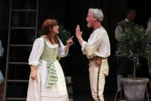 Kim Martin-Cotten as Beatrice and Ben Livingston as Benedick. (Photo by Karl Hugh. Copyright Utah Shakespeare Festival 2016.)