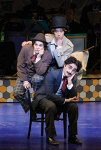 Tasso Feldman (top) as Harpo/Silent Red, Jim Paulos as Chico/Willie Wony Diddydony, and John Plumpis as Mr. Hammer/Groucho. (Photo by Karl Hugh. Copyright Utah Shakespeare Festival 2016.)