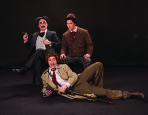 John Plumpis (left) as Mr. Hammer/Groucho, Tasso Feldman as Harpo/Silent Red, and Jim Poulos as Chico/Willie Wony Diddydony. (Photo by Karl Hugh. Copyright Utah Shakespeare Festival 2016.)