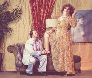 Caleb Parry as Georges and Cameron Kapetanov as Albin in The Ziegfeld Theater's production of La Cage Aux Folles.