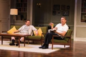 Brian Vaughn (left) as Oscar Madison and David Ivers as Felix Ungar in the Utah Shakespeare Festival's 2016 production of The Odd Couple. (Photo by Karl Hugh. Copyright Utah Shakespeare Festival 2016.)