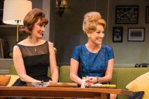 Melissa Graves (left) as Cecily Pigeon and Melinda Parrett as Gwendolyn Pigeon in the Utah Shakespeare Festival's 2016 production of The Odd Couple. (Photo by Karl Hugh. Copyright Utah Shakespeare Festival 2016.)