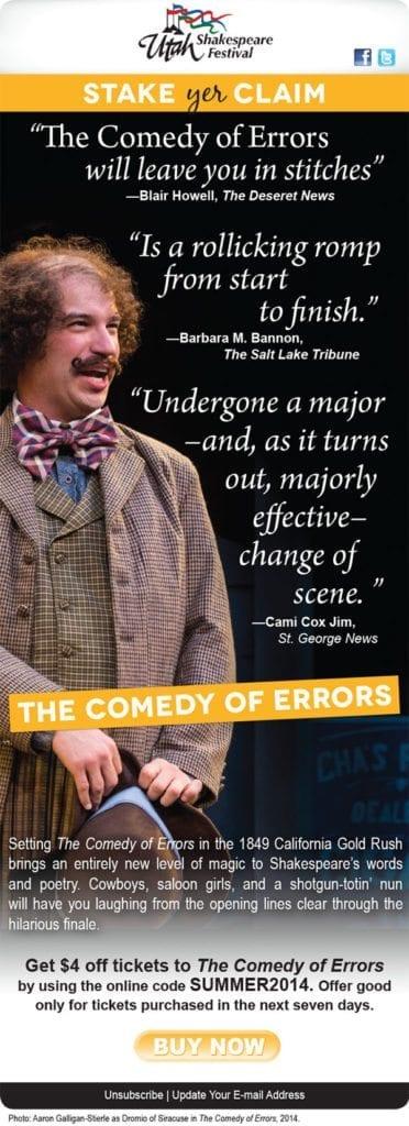 Comedy of errors advertisement - Utah Shakespeare Festival