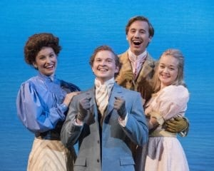 Left to right: Emma Widtfeldt as Gwendolen Fairfax, Sean Worsley as Jack Worthing, Spencer Hunsicker as Algernon Moncrieff, and Meg Flinders as Cecily Cardew. Photo by Jaren Wilkey.