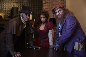 Left to right: Howard Kaye as Bill Sykes, Natalie Hill as Nancy, and Bill Nolte as Fagin.